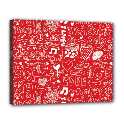 Happy Valentines Love Heart Red Canvas 14  x 11