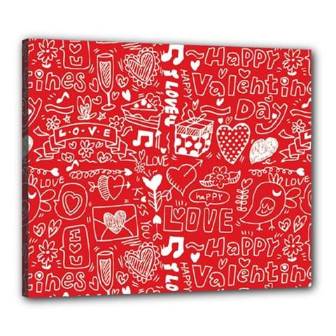 Happy Valentines Love Heart Red Canvas 24  x 20