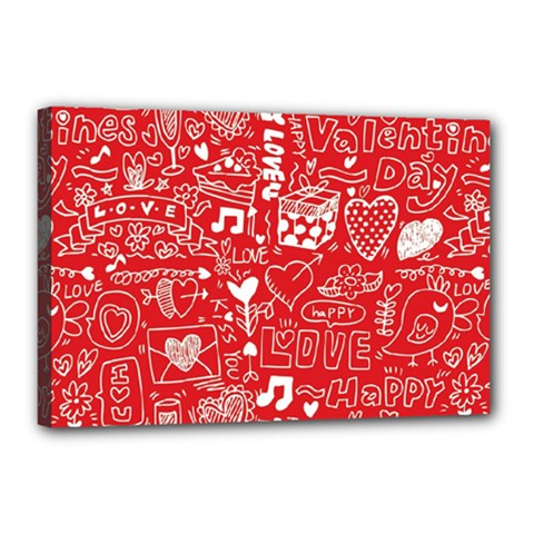 Happy Valentines Love Heart Red Canvas 18  x 12
