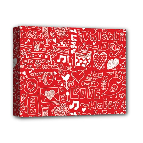 Happy Valentines Love Heart Red Deluxe Canvas 14  x 11