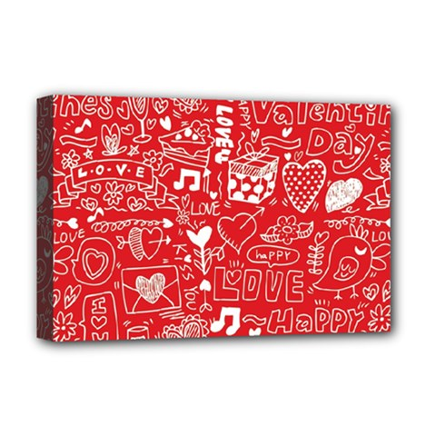 Happy Valentines Love Heart Red Deluxe Canvas 18  x 12