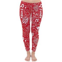 Happy Valentines Love Heart Red Classic Winter Leggings