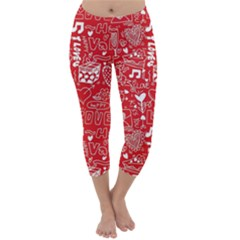 Happy Valentines Love Heart Red Capri Winter Leggings