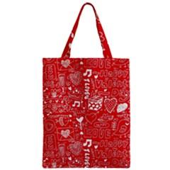Happy Valentines Love Heart Red Zipper Classic Tote Bag