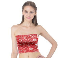 Happy Valentines Love Heart Red Tube Top