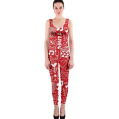 Happy Valentines Love Heart Red OnePiece Catsuit