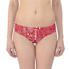 Happy Valentines Love Heart Red Hipster Bikini Bottoms