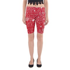 Happy Valentines Love Heart Red Yoga Cropped Leggings