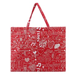 Happy Valentines Love Heart Red Zipper Large Tote Bag