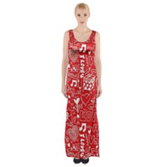 Happy Valentines Love Heart Red Maxi Thigh Split Dress
