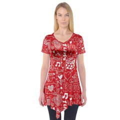 Happy Valentines Love Heart Red Short Sleeve Tunic