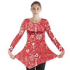 Happy Valentines Love Heart Red Long Sleeve Tunic