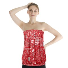 Happy Valentines Love Heart Red Strapless Top