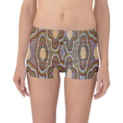 Aborigianal Austrialian Contemporary Aboriginal Flower Boyleg Bikini Bottoms