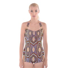 Aborigianal Austrialian Contemporary Aboriginal Flower Boyleg Halter Swimsuit