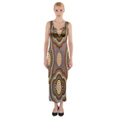 Aborigianal Austrialian Contemporary Aboriginal Flower Fitted Maxi Dress