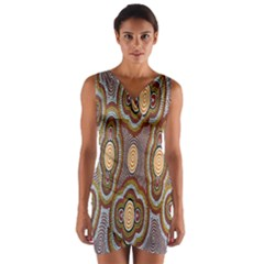 Aborigianal Austrialian Contemporary Aboriginal Flower Wrap Front Bodycon Dress