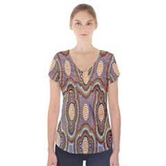Aborigianal Austrialian Contemporary Aboriginal Flower Short Sleeve Front Detail Top