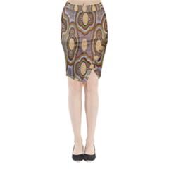Aborigianal Austrialian Contemporary Aboriginal Flower Midi Wrap Pencil Skirt