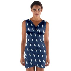 Another Rain Day Water Blue Wrap Front Bodycon Dress