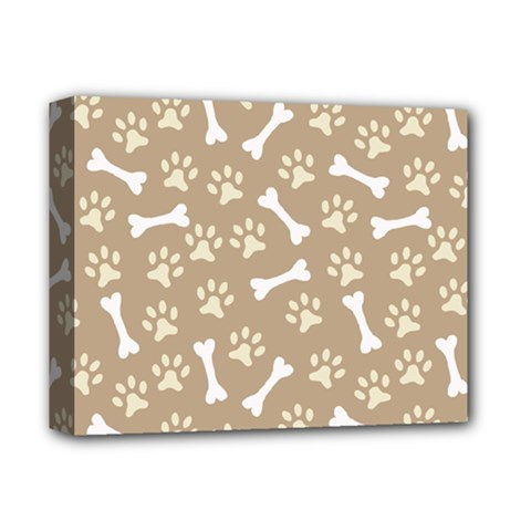 Background Bones Small Footprints Brown Deluxe Canvas 14  x 11