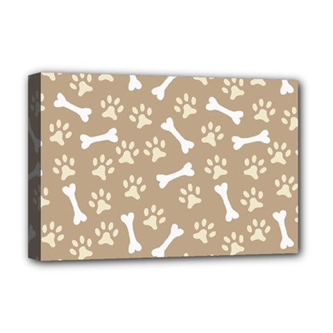 Background Bones Small Footprints Brown Deluxe Canvas 18  x 12