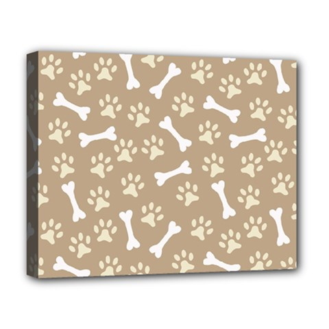 Background Bones Small Footprints Brown Deluxe Canvas 20  x 16