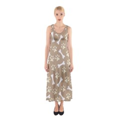 Background Bones Small Footprints Brown Sleeveless Maxi Dress