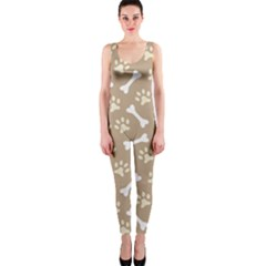 Background Bones Small Footprints Brown OnePiece Catsuit