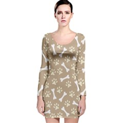 Background Bones Small Footprints Brown Long Sleeve Velvet Bodycon Dress