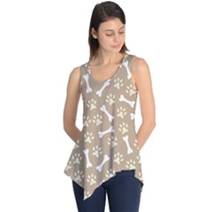 Background Bones Small Footprints Brown Sleeveless Tunic