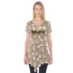 Background Bones Small Footprints Brown Short Sleeve Tunic