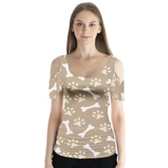 Background Bones Small Footprints Brown Butterfly Sleeve Cutout Tee