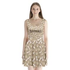 Background Bones Small Footprints Brown Split Back Mini Dress