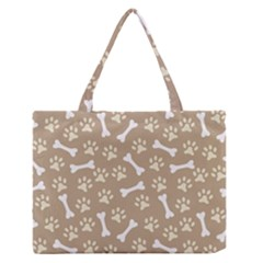Background Bones Small Footprints Brown Medium Zipper Tote Bag