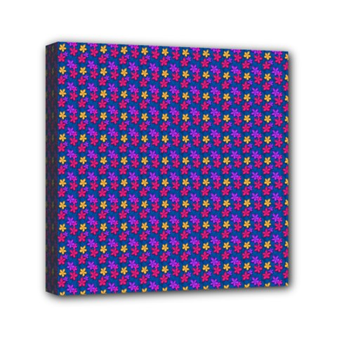 Beach Blue High Quality Seamless Pattern Purple Red Yrllow Flower Floral Mini Canvas 6  x 6