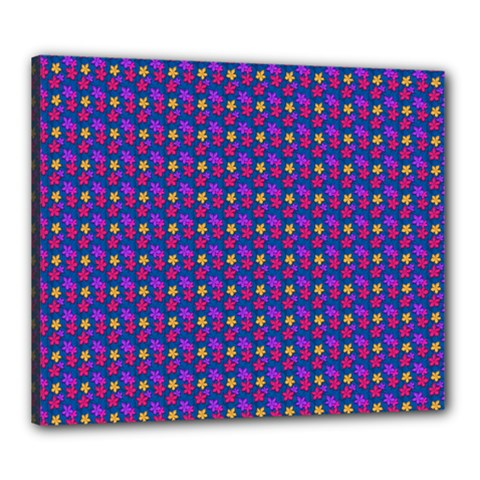 Beach Blue High Quality Seamless Pattern Purple Red Yrllow Flower Floral Canvas 24  x 20
