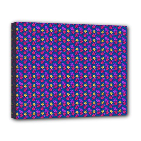 Beach Blue High Quality Seamless Pattern Purple Red Yrllow Flower Floral Deluxe Canvas 20  X 16