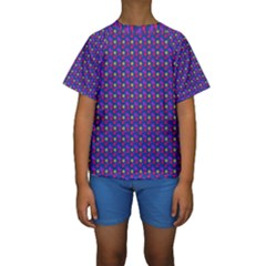 Beach Blue High Quality Seamless Pattern Purple Red Yrllow Flower Floral Kids  Short Sleeve Swimwear