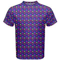 Beach Blue High Quality Seamless Pattern Purple Red Yrllow Flower Floral Men s Cotton Tee
