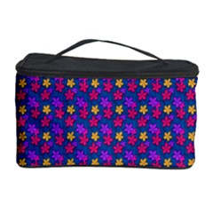Beach Blue High Quality Seamless Pattern Purple Red Yrllow Flower Floral Cosmetic Storage Case