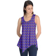Beach Blue High Quality Seamless Pattern Purple Red Yrllow Flower Floral Sleeveless Tunic