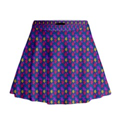 Beach Blue High Quality Seamless Pattern Purple Red Yrllow Flower Floral Mini Flare Skirt