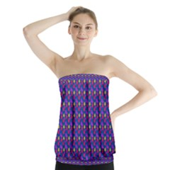 Beach Blue High Quality Seamless Pattern Purple Red Yrllow Flower Floral Strapless Top
