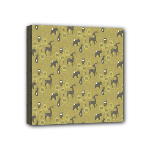 Animals Deer Owl Bird Grey Mini Canvas 4  x 4