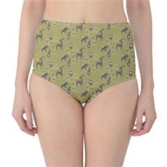 Animals Deer Owl Bird Grey High-Waist Bikini Bottoms