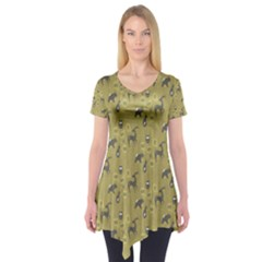 Animals Deer Owl Bird Grey Short Sleeve Tunic