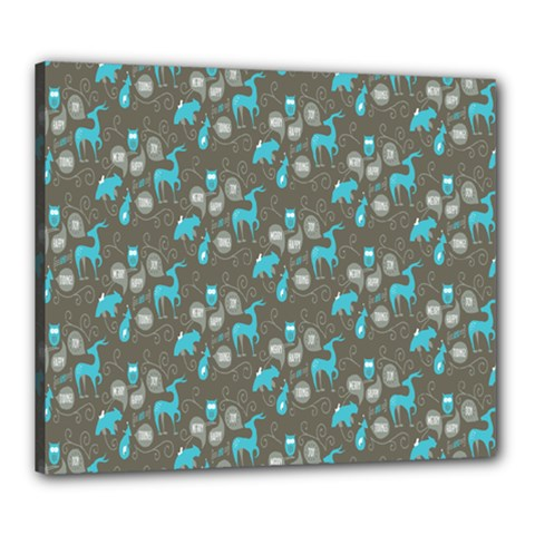 Animals Deer Owl Bird Bear Bird Blue Grey Canvas 24  x 20