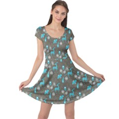 Animals Deer Owl Bird Bear Bird Blue Grey Cap Sleeve Dresses