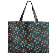 Animals Deer Owl Bird Bear Bird Blue Grey Zipper Mini Tote Bag